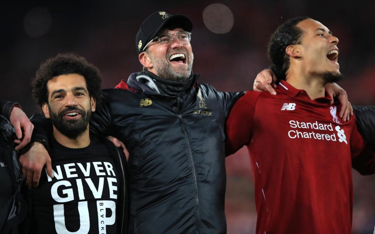Jurgen Klopp celebrates with his Liverpool heroes on an incredible night at Anfield