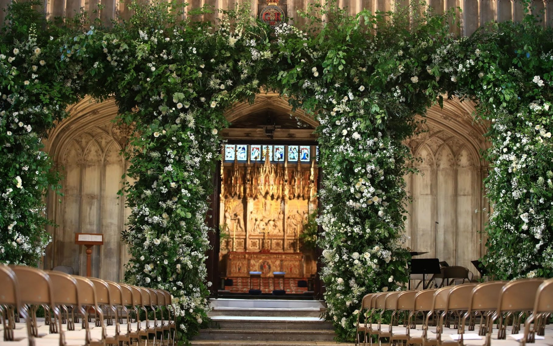 Flowers adorn the front of the organ loft inside St George's Chapel