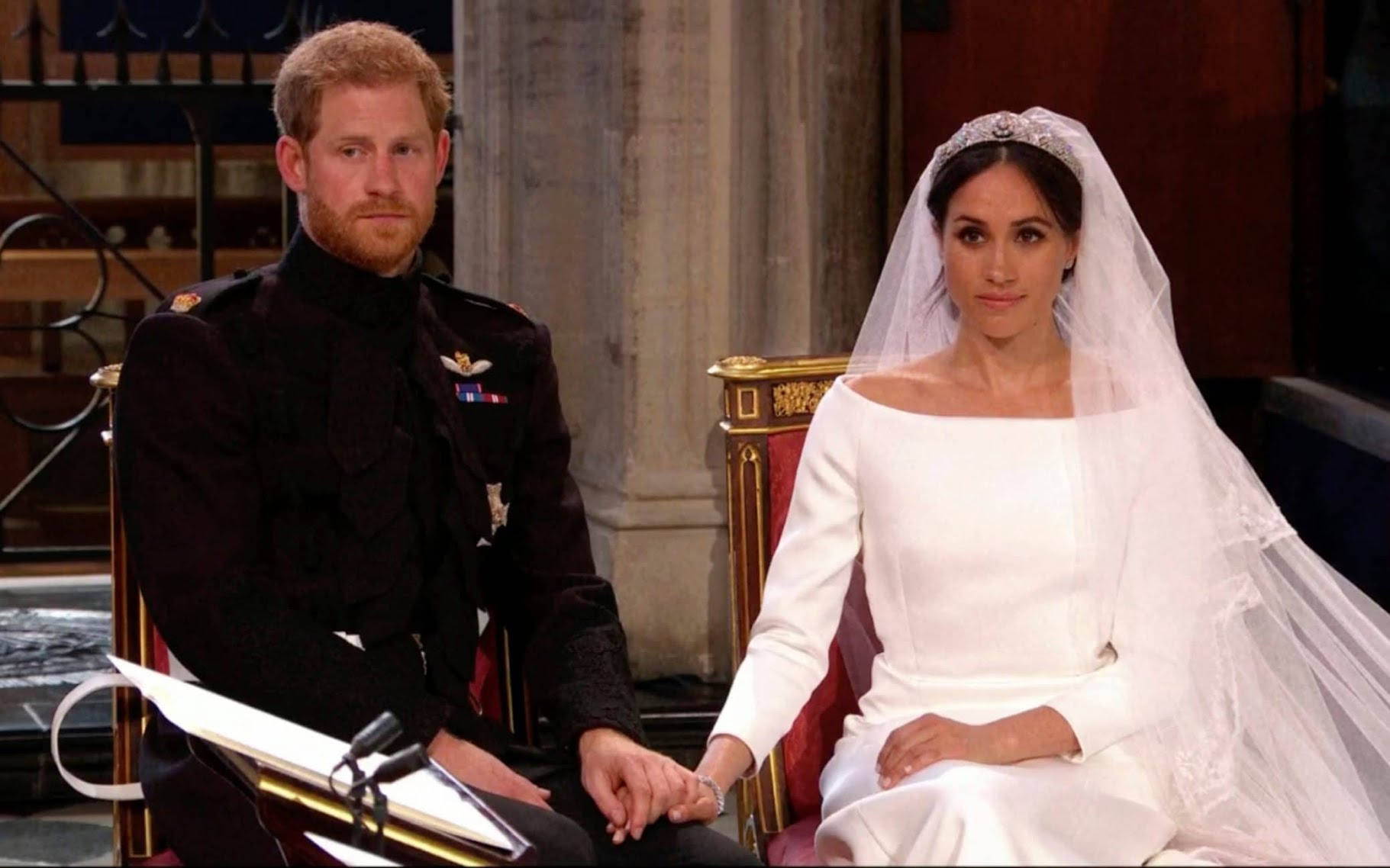Prince Harry and Meghan Markle before they say their vows