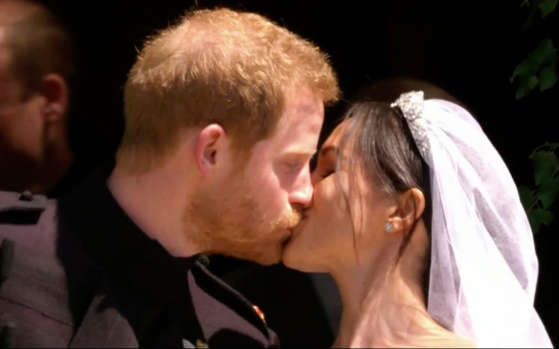 A royal kiss: Prince Harry and Meghan Markle kiss after their wedding ceremony