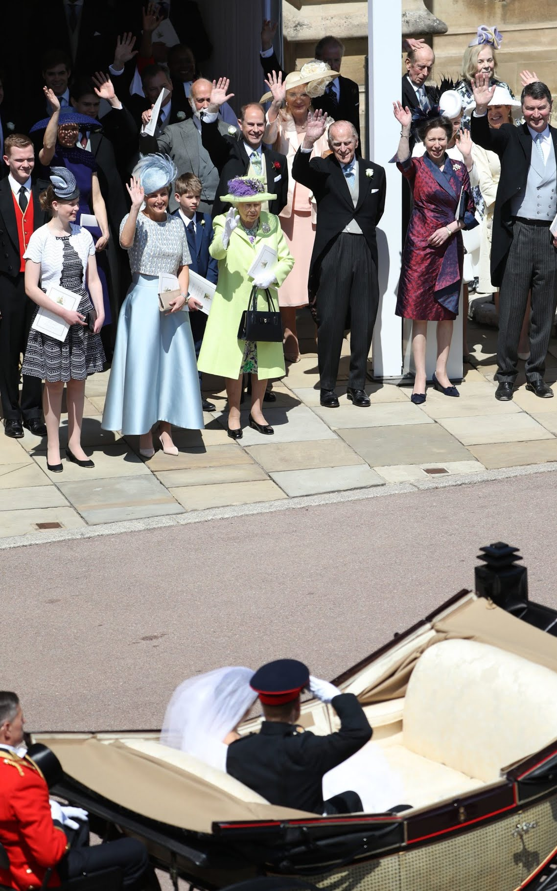 Prince Harry salutes members of the Royal family