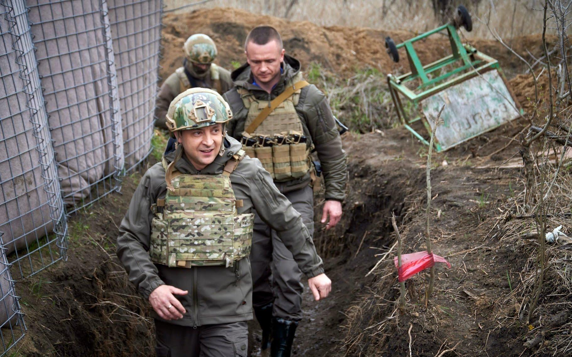 Ukrainian President Volodymyr Zelenskiy visits the war-hit Donbas region, eastern Ukraine