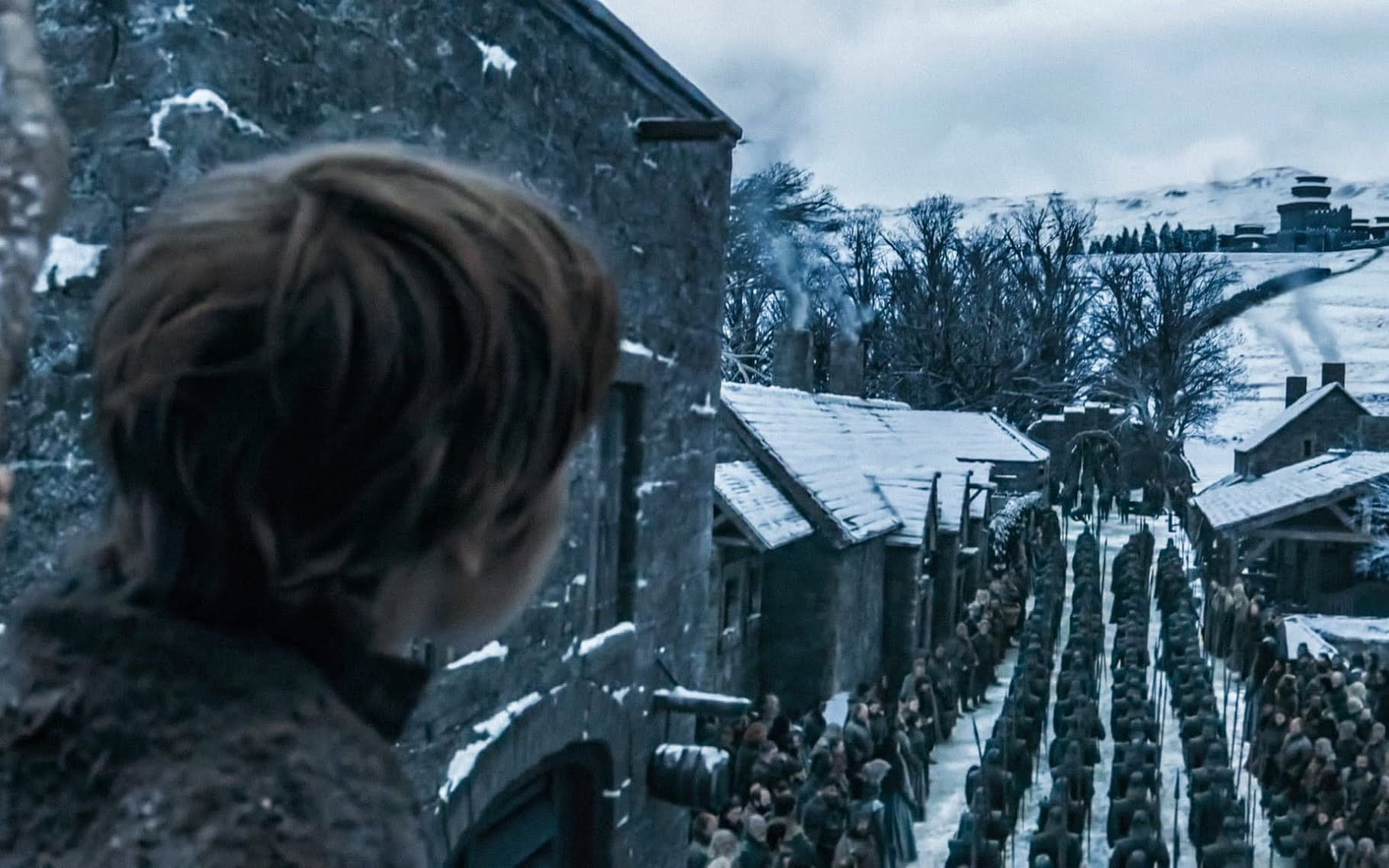 The troops gather at Winterfell - presumably, to wage war with the undead