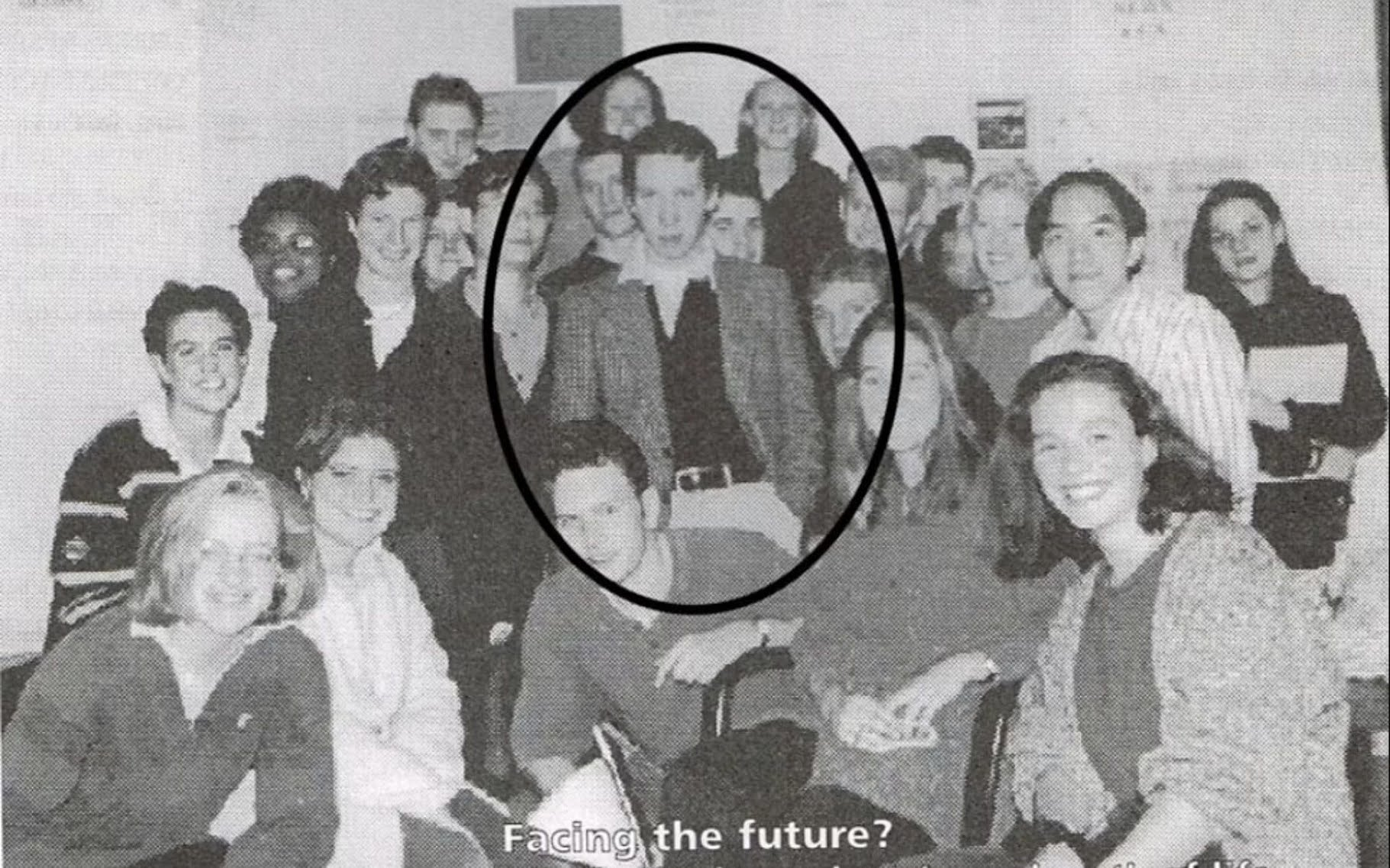 Matt Hancock (circled) and his future 'lover' is Gina Coladangelo (believed to be far right) are pictured at the launch of a student radio station in a newly unearthed photo