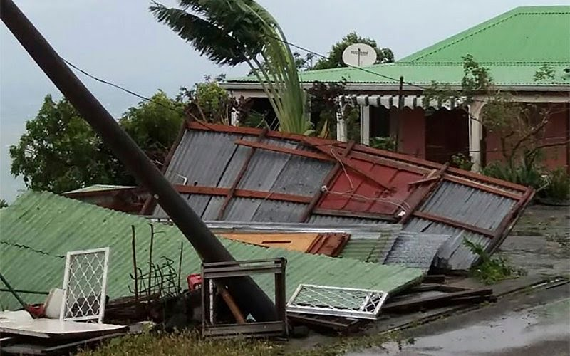 Storm damage to a property in Bouillante on the French Caribbean island of Guadeloupe